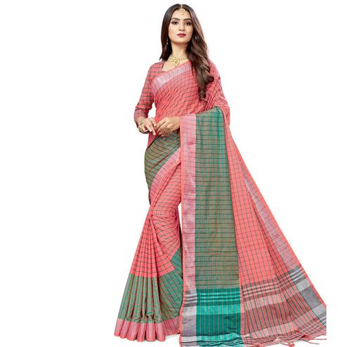 Jazzy Peach Colored Fesive Wear Checks Print Cotton Silk Saree With Tassels