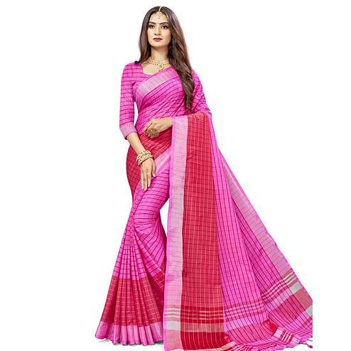 Engrossing Pink Colored Fesive Wear Checks Print Cotton Silk Saree With Tassels