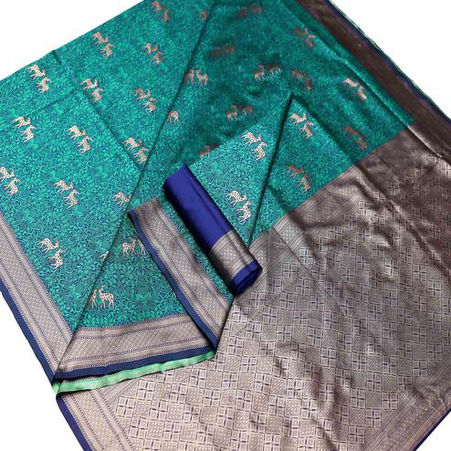 Trendy Green Colored Festive Wear Woven Art Silk Saree