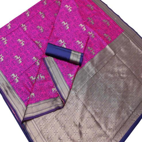Elegant Pink Colored Festive Wear Woven Art Silk Saree