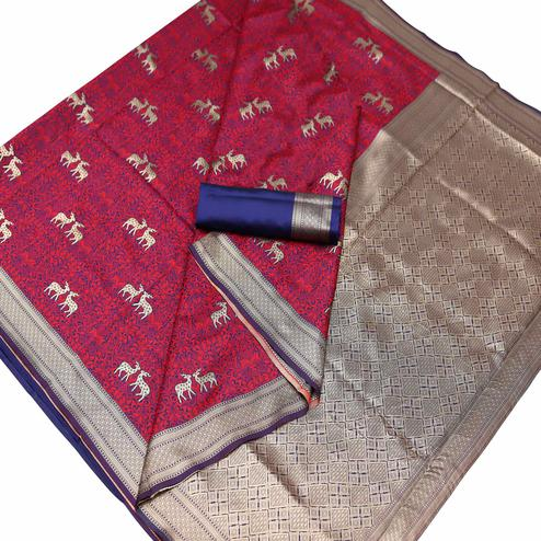 Radiant Maroon Colored Festive Wear Woven Art Silk Saree