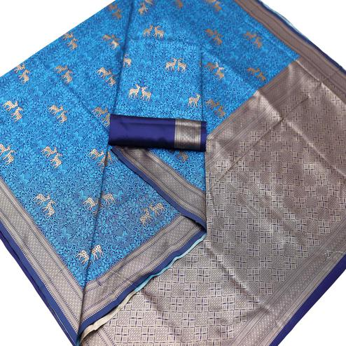 Pleasant Blue Colored Festive Wear Woven Art Silk Saree