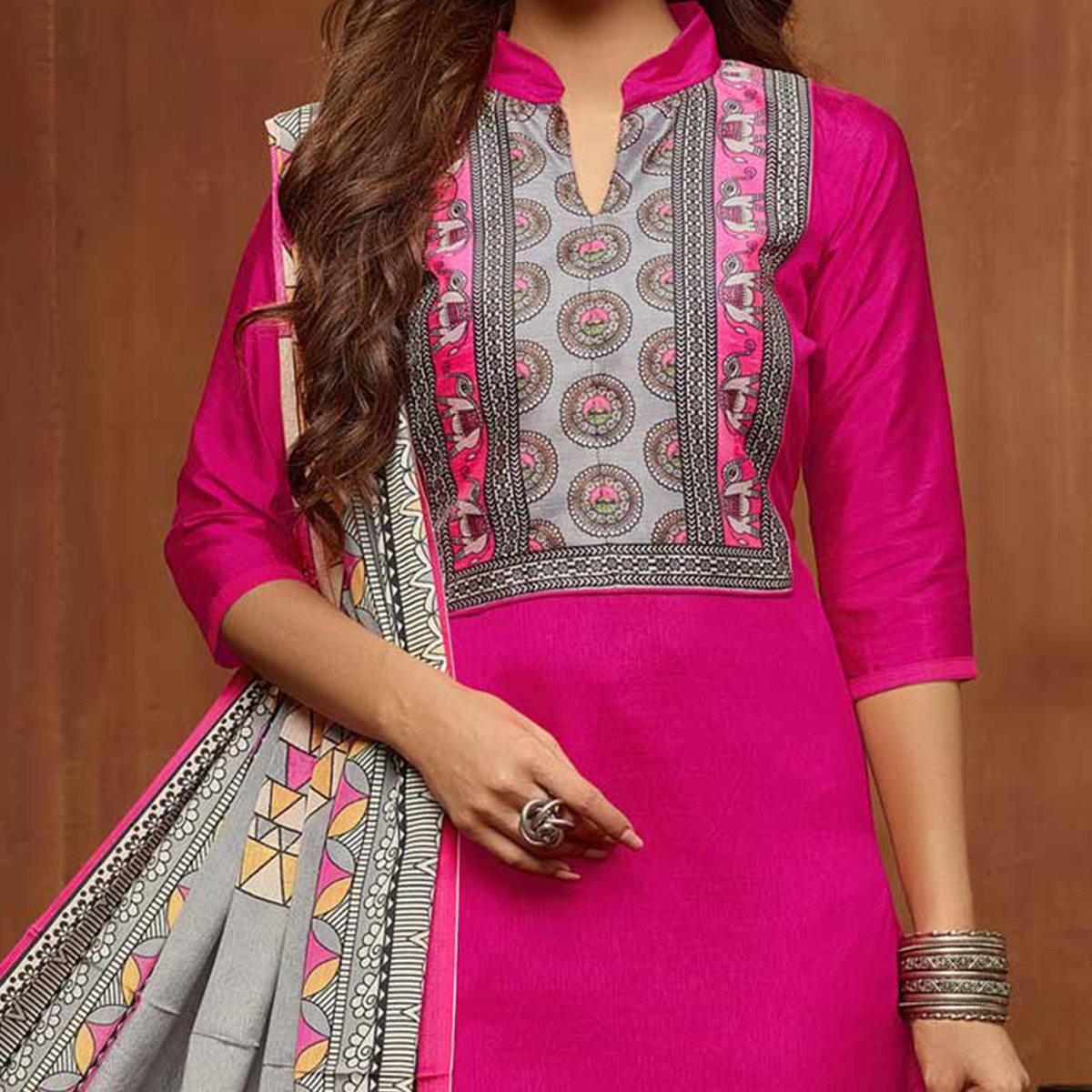 Delightful Pink Designer Printed Zoya Silk Dress Material