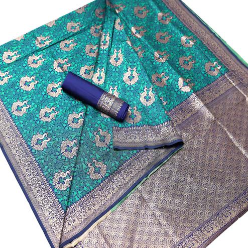 Opulent Green Colored Festive Wear Woven Art Silk Saree
