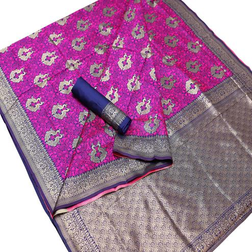 Exceptional Pink Colored Festive Wear Woven Art Silk Saree