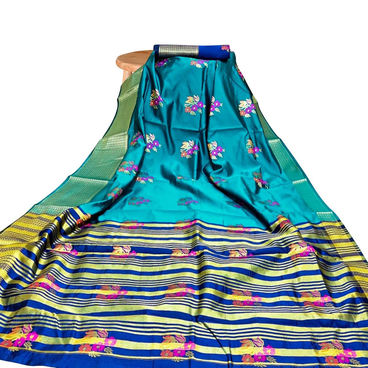 Demanding Turquoise Blue Colored Festive Wear Woven Silk Saree