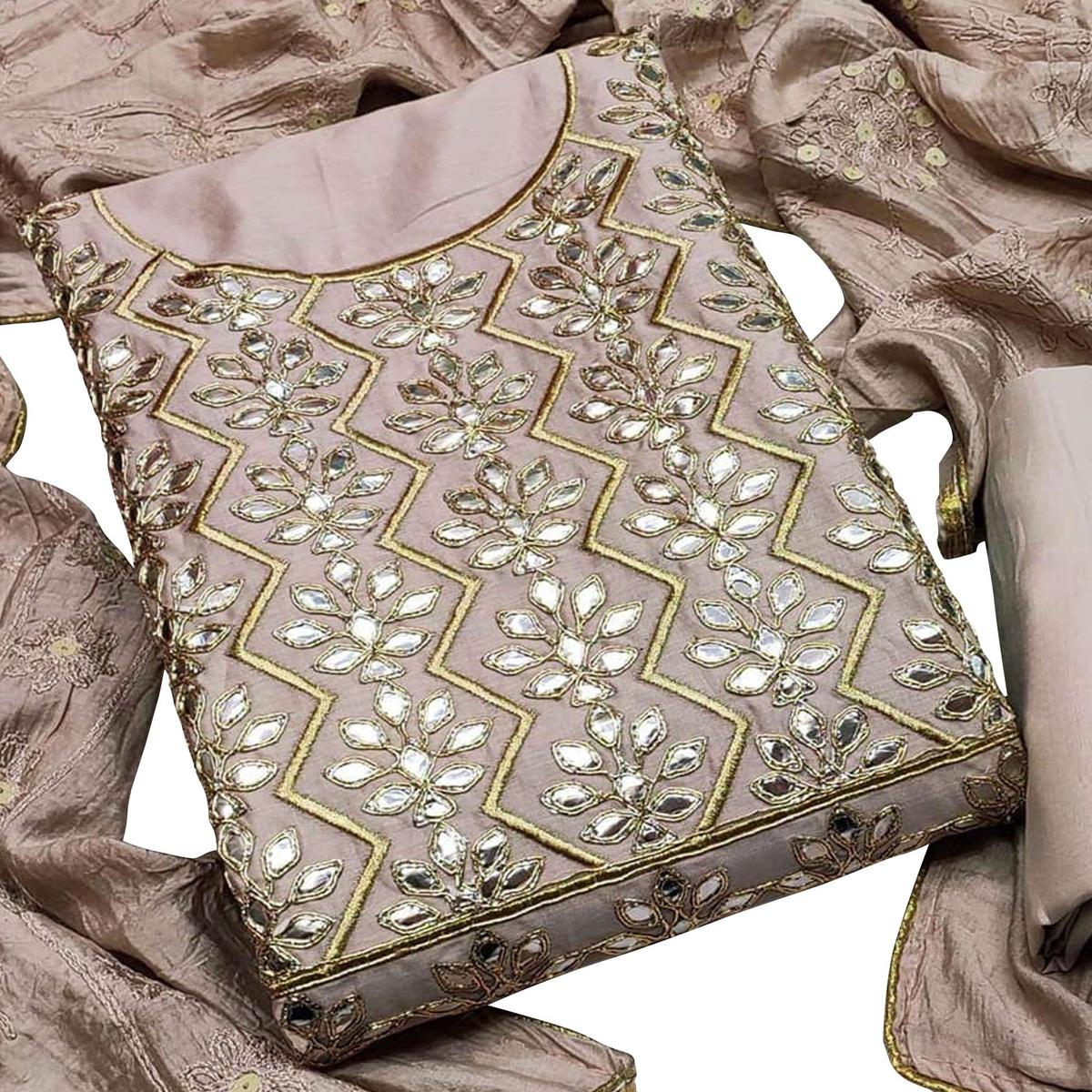 Flamboyant Beige Colored Paartywear Embroidered Chanderi Cotton Dress Material