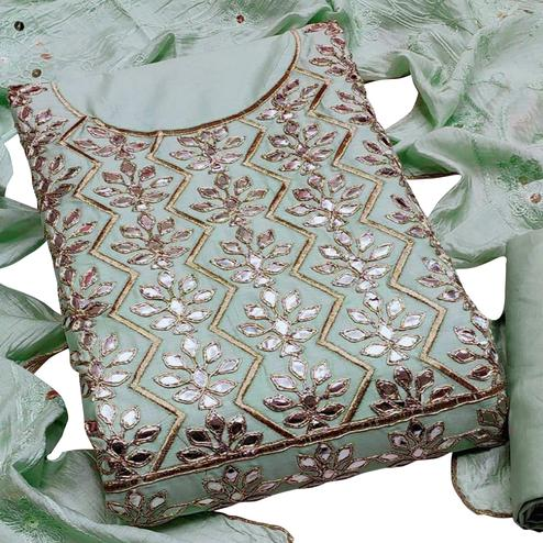 Pretty Light Green Colored Paartywear Embroidered Chanderi Cotton Dress Material