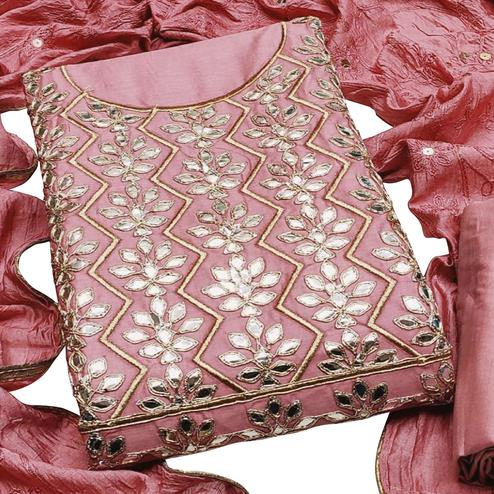 Alluring Pink Colored Partywear Embroidered Chanderi Cotton Dress Material
