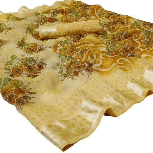 Breathtaking Light Yellow Colored Casual Floral Printed Linen Saree