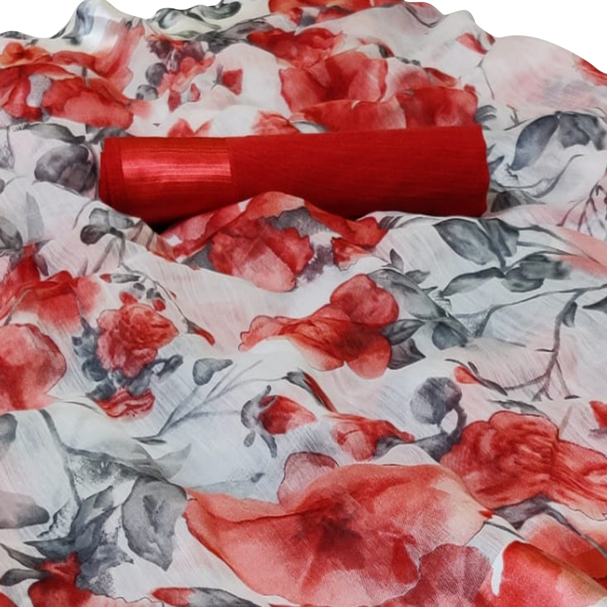 Ravishing White-Red Colored Casual Floral Printed Linen Saree