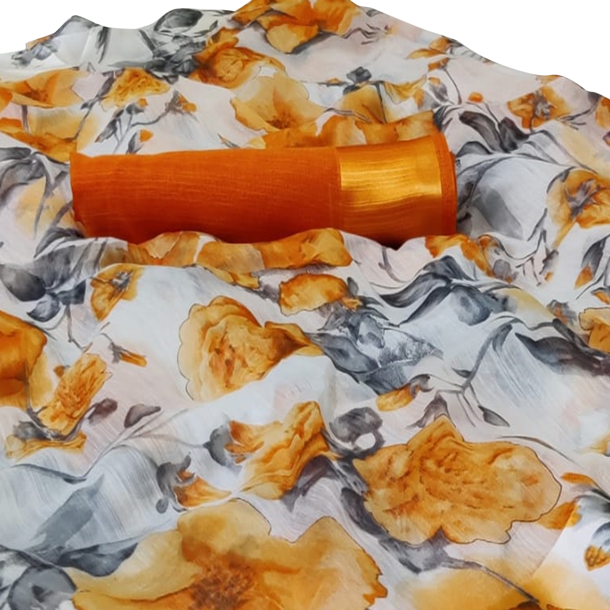 Dazzling White-Yellow Colored Casual Floral Printed Linen Saree