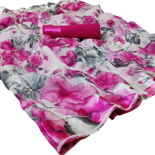 Surpassing White-Pink Colored Casual Floral Printed Linen Saree