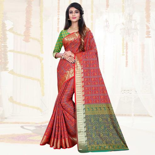 Beautiful Red Colored Festive Wear Woven Patola Silk Saree