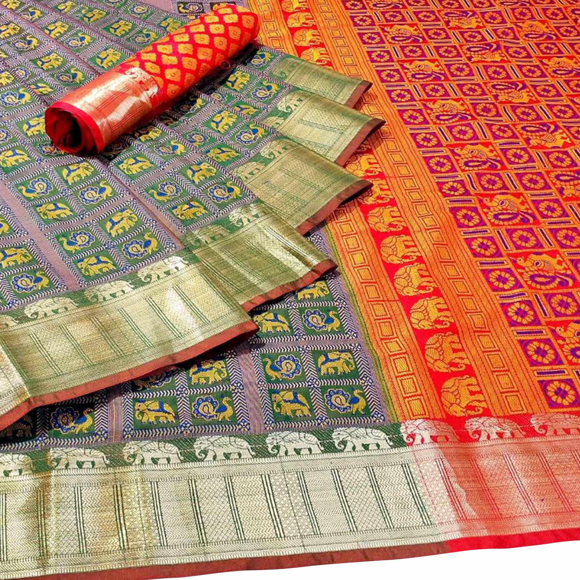 Blooming Light Green Colored Festive Wear Woven Patola Silk Saree
