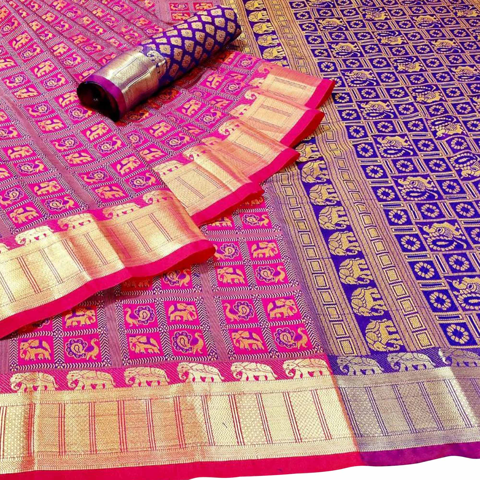 Jazzy Pink Colored Festive Wear Woven Patola Silk Saree