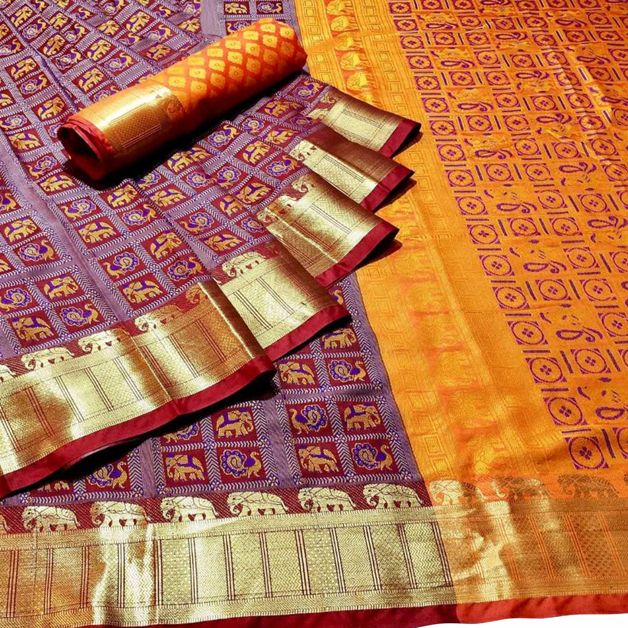 Engrossing Light Maroon Colored Festive Wear Woven Patola Silk Saree