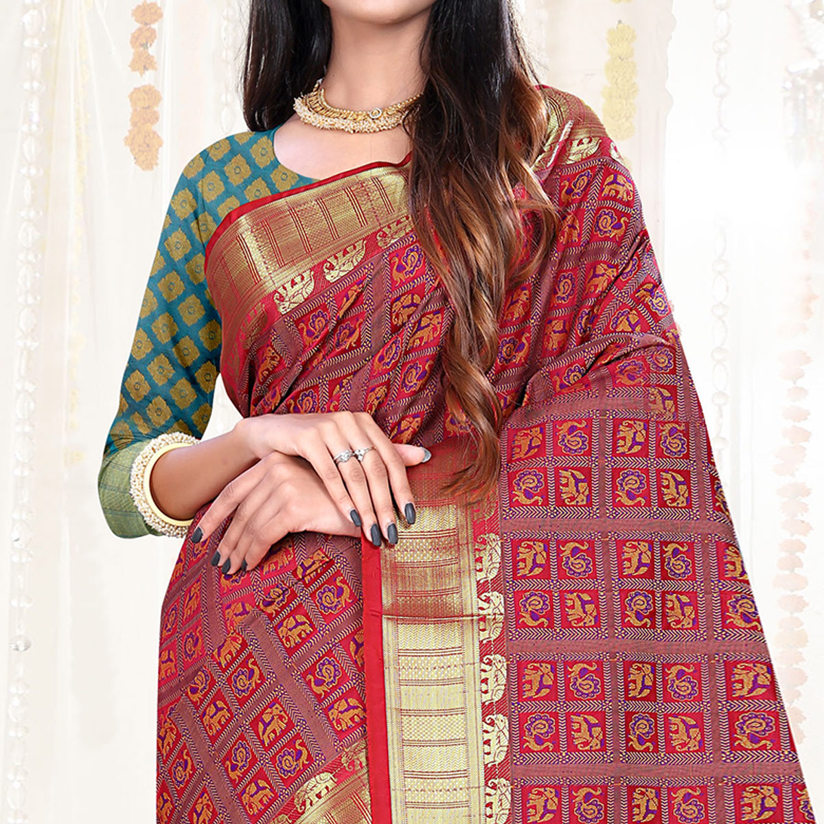 Innovative Red Colored Festive Wear Woven Patola Silk Saree