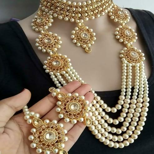 Zaffre Collections - Trending Gold Crystal and Pearl Necklace Choker Combo Set with Maang Tikka for Women and Girls