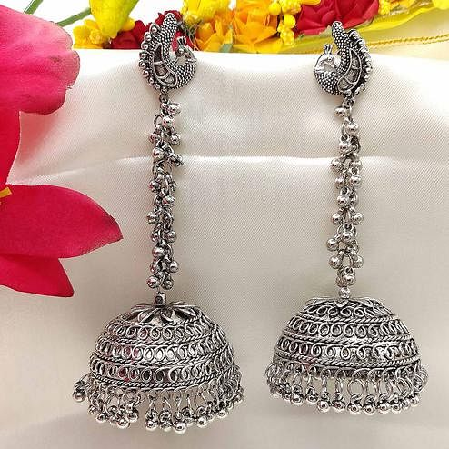 Zaffre Collections - Attractive Big Jhumki Oxidised Silver Earrings for Women and Girls