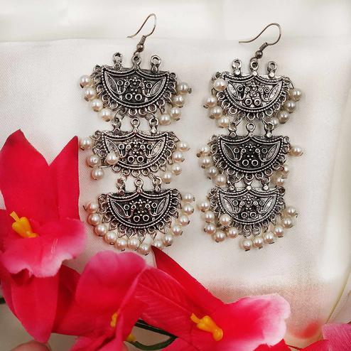 Zaffre Collections - 3 Layer Oxidized Silver Dangle Earrings for Women and Girls