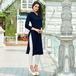 Navy Blue Cotton Designer Kurti