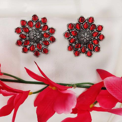 Zaffre Collections - Oxidized Silver with Red Beads Stud Earrings for Women and Girls