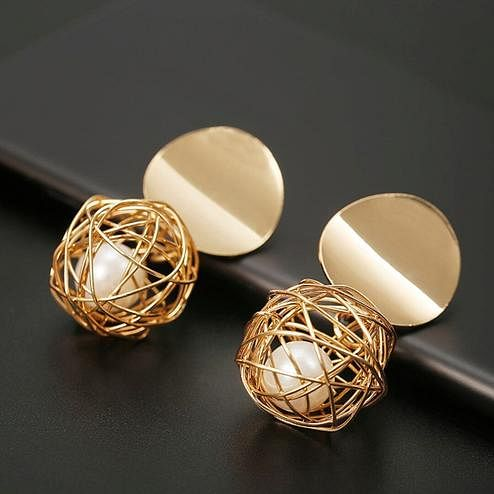 Zaffre Collections - Beautiful Trendy Golden Round Ball Alloy Stud Earrings