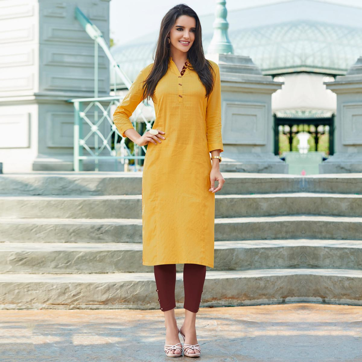 Mustard Yellow Cotton Designer Kurti