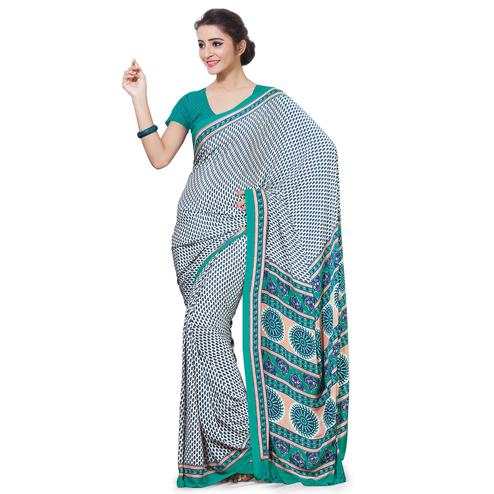 Intricate White-Green Colored Casual Wear Printed Crepe Saree