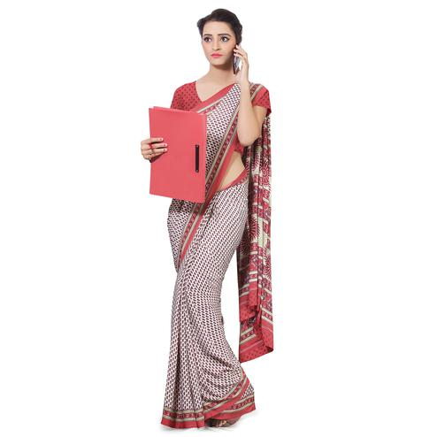 Arresting White-Red Colored Casual Wear Printed Crepe Saree