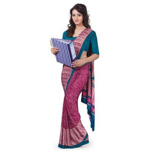 Desirable Magenta Pink Colored Casual Wear Printed Crepe Saree