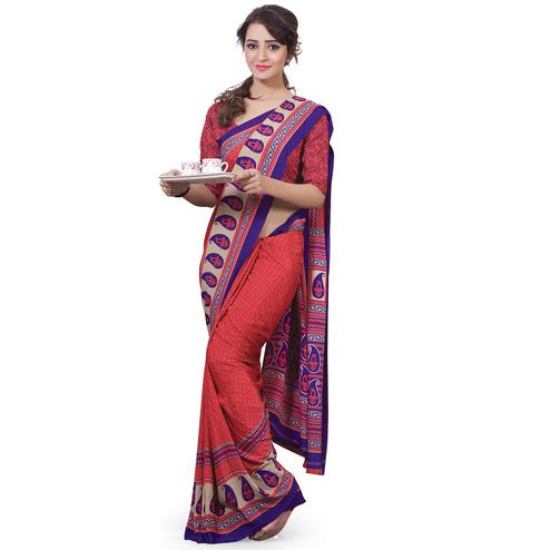Trendy Red Colored Casual Wear Printed Crepe Saree
