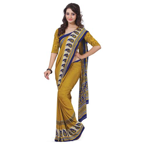 Elegant Mustard Yellow Colored Casual Wear Printed Crepe Saree