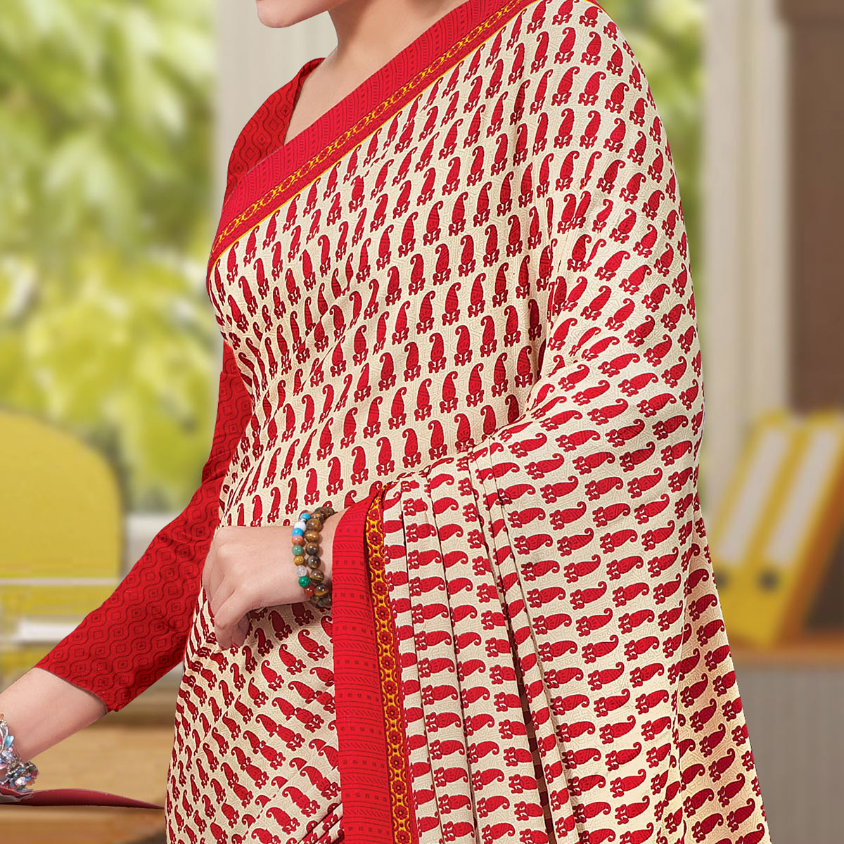 Opulent Red Colored Casual Wear Printed Crepe Saree