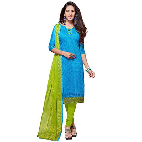 Blue - Green Chanderi Churidar Suit