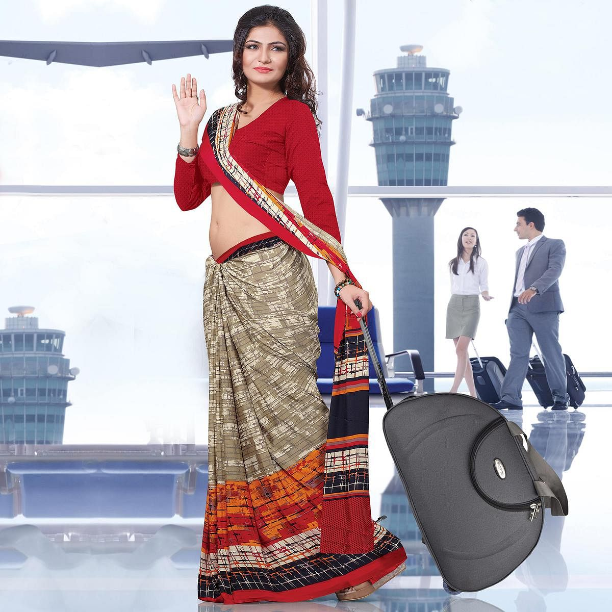 Exceptional Beige-Red Colored Casual Wear Printed Crepe Saree