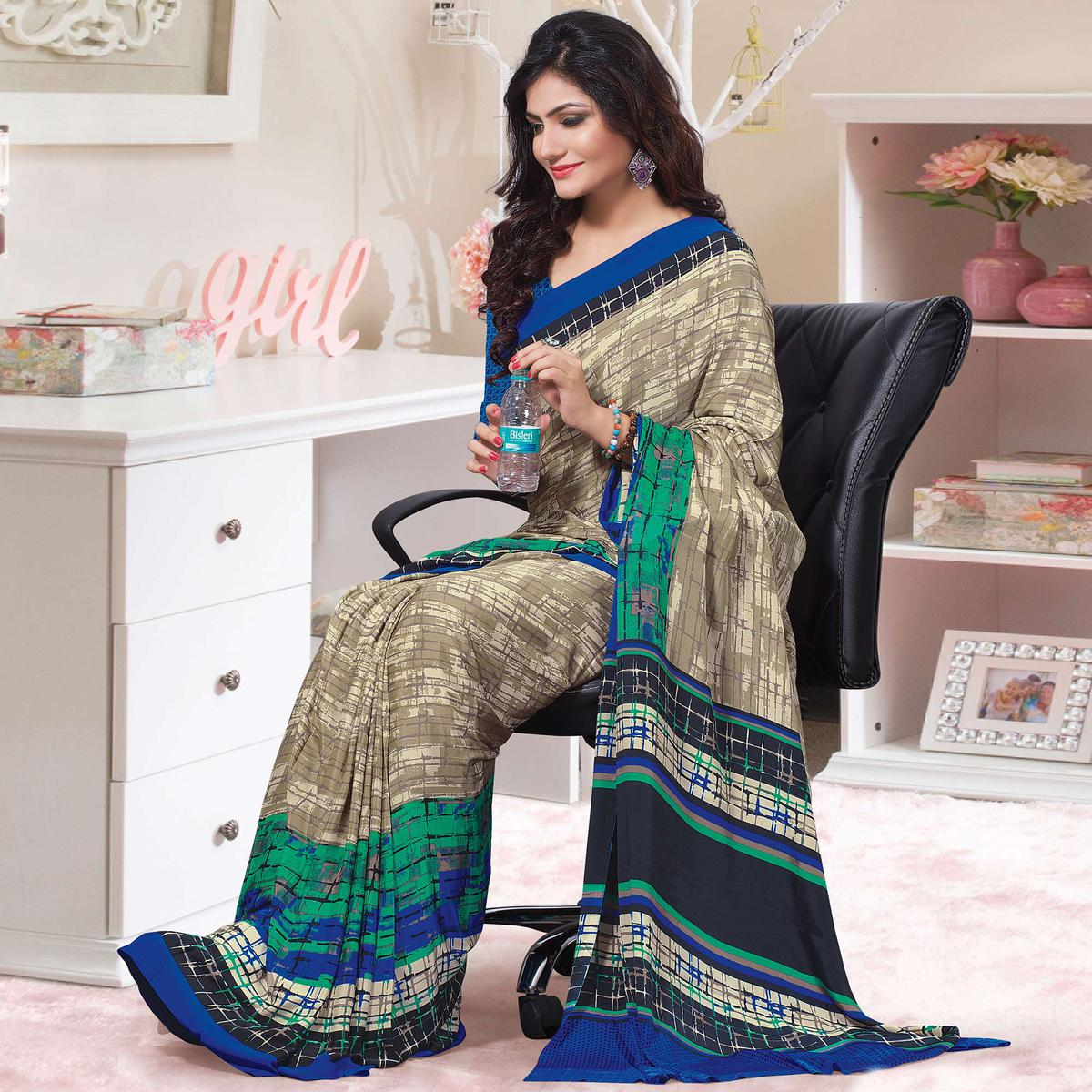 Gleaming Beige-Blue Colored Casual Wear Printed Crepe Saree