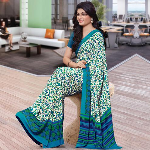 Unique Green Colored Casual Wear Printed Crepe Saree