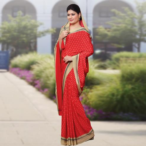 Demanding Red Colored Casual Wear Printed Crepe Saree