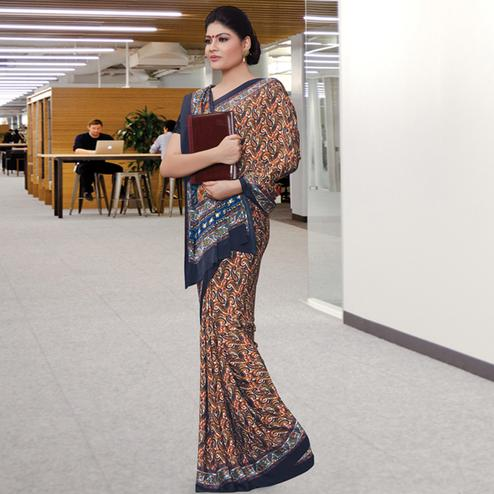 Refreshing Multi Colored Casual Wear Printed Crepe Saree