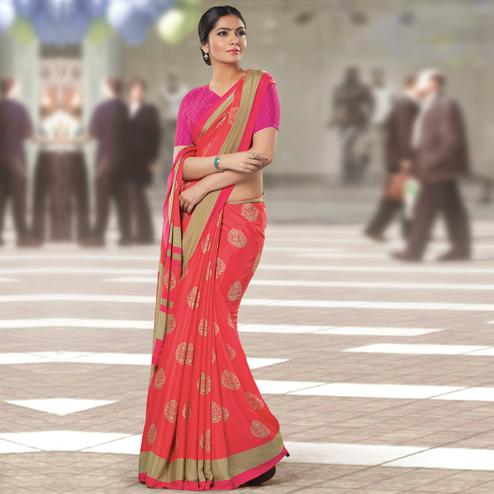 Excellent Red Colored Casual Wear Printed Crepe Saree