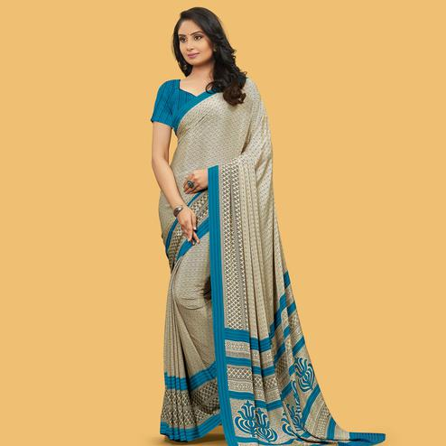Preferable Beige Colored Casual Wear Printed Crepe Saree
