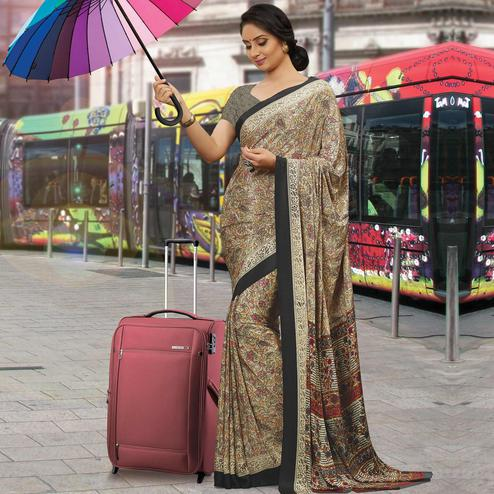 Flamboyant Beige Colored Casual Wear Printed Crepe Saree