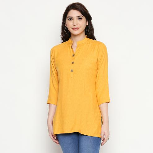 Radiant Yellow Colored Casual Wear Solid Cotton Western Top