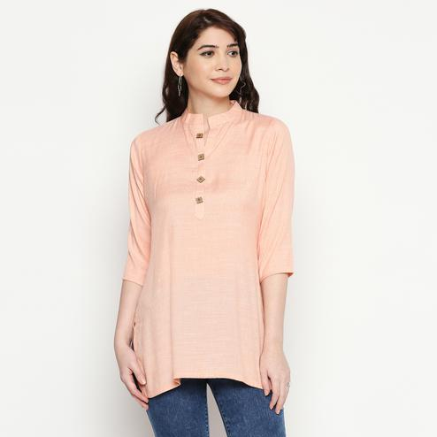 Opulent Light Peach Colored Casual Wear Solid Cotton Western Top
