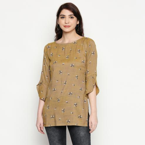 Energetic Brown Colored Casual Wear Printed Cotton Western Top