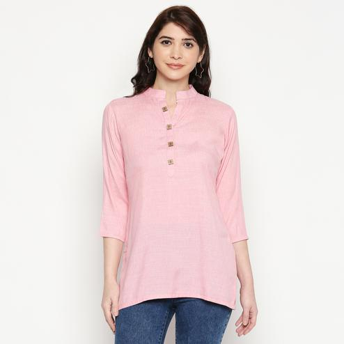 Demanding Pink Colored Casual Wear Solid Cotton Western Top