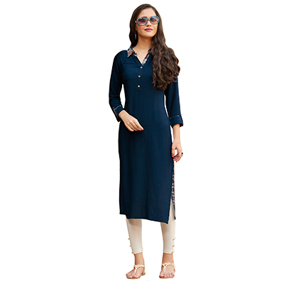 Blue Cotton & Georgette Designer Kurti
