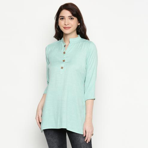 Magnetic Aqua Blue Colored Casual Wear Solid Cotton Western Top